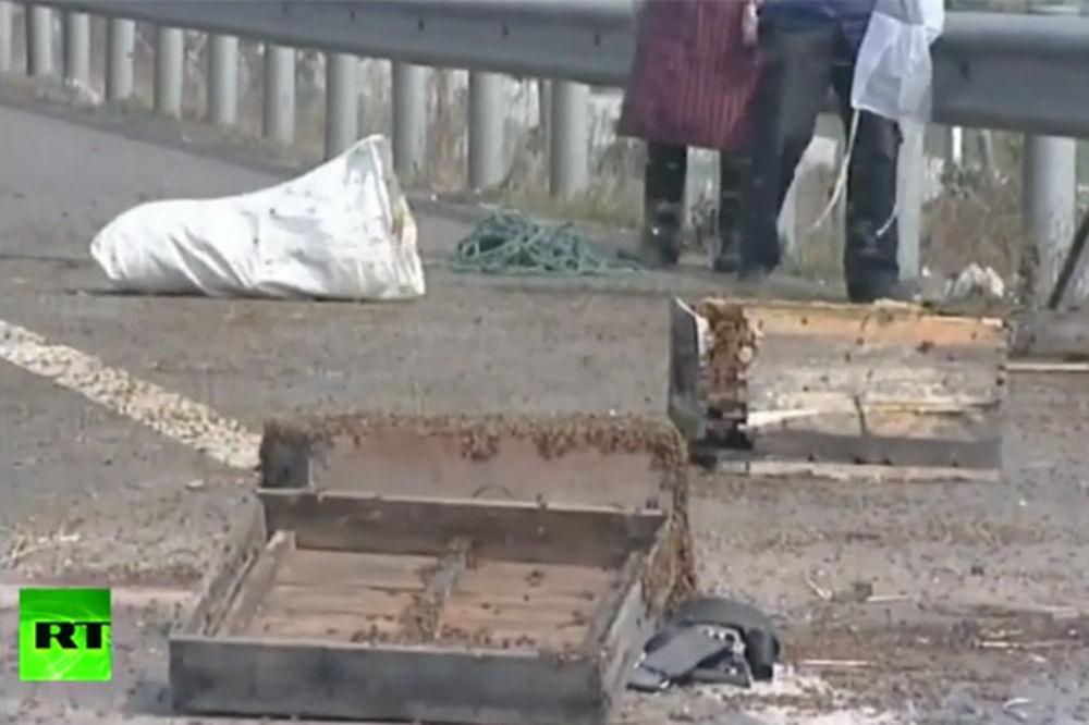 (VIDEO) RAŠČISTILE GUŽVU OČAS POSLA: Milioni besnih pčela terorisale auto-put u Kini