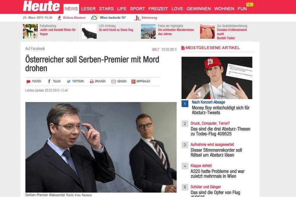 Pretnje smrću srpskom premijeru glavna vest i u austrijskim medijima