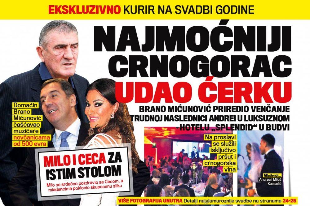 DANAS U KURIRU NA SVADBI GODINE: Najmoćniji Crnogorac udao ćerku