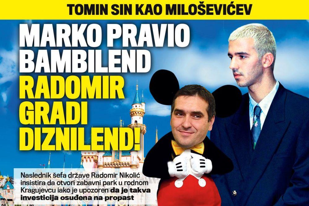 DANAS U KURIRU TOMIN SIN KOPIRA MARKA MILOŠEVIĆA: Radomir Nikolić bi da gradi Diznilend u Kragujevcu