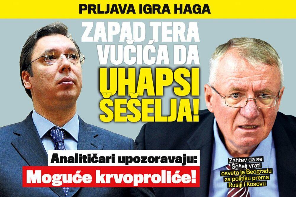 DANAS U KURIRU PRLJAVA IGRA HAGA: Zapad tera Vučića da uhapsi Šešelja!