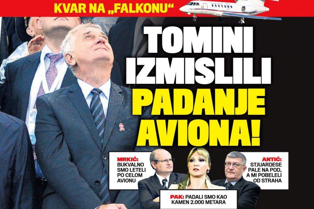 DANAS U KURIRU PREUVELIČALI: Nikolićevi saradnici izmislili padanje aviona!