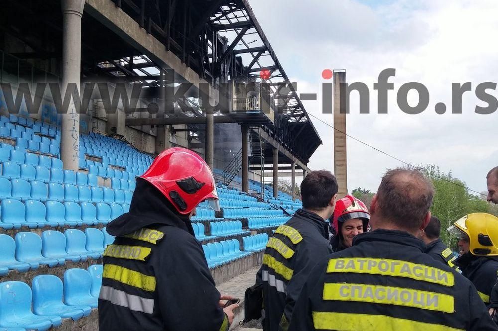 (KURIR TV) Pogledajte kako je ugašen požar na stadionu Rada