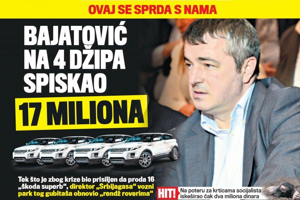 DANAS U KURIRU RASIPNIK: Dušan Bajatović na 4 džipa spiskao 17 miliona!