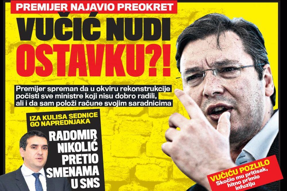 DANAS U KURIRU PREMIJER NAJAVIO PREOKRET: Vučić nudi ostavku?!