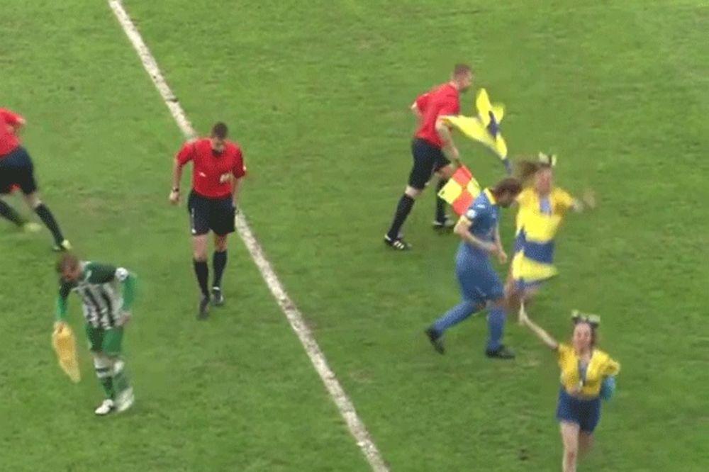 (VIDEO) URNEBESNO: Devojčica uletela klizeći i izblamirala kapitena BATE Borisova
