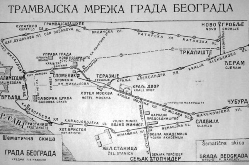 Tramvajska mreža Beograda iz 1908. godine (Linija 1 se vidi na trasi Kalemegdan - Slavija), Foto: Wikipedia