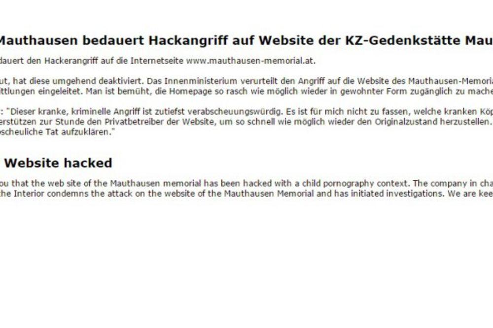 BOLESNO: Hakovan sajt Mauthauzena, hakeri pustili dečju pornografiju!