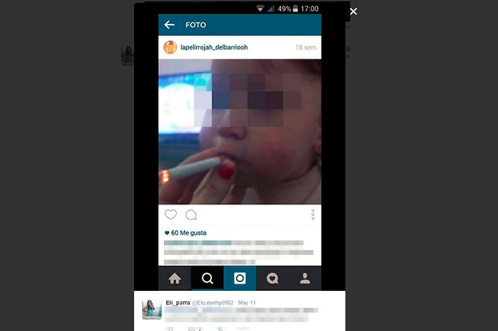 (FOTO) KO NJOJ DADE DETE: Mama (18) bebi (1) dala da puši cigaretu pa se hvalila na Instagramu!