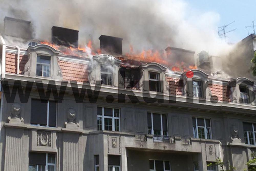 (KURIR TV) Pogledajte kako gori zgrada u Kosovskoj i spasavaju stanare!