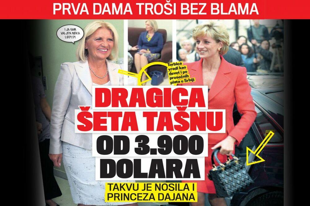 ČITAJTE U KURIRU PRVA DAMA TROŠI BEZ BLAMA: Dragica Nikolić šeta tašnu od 3.900 dolara!