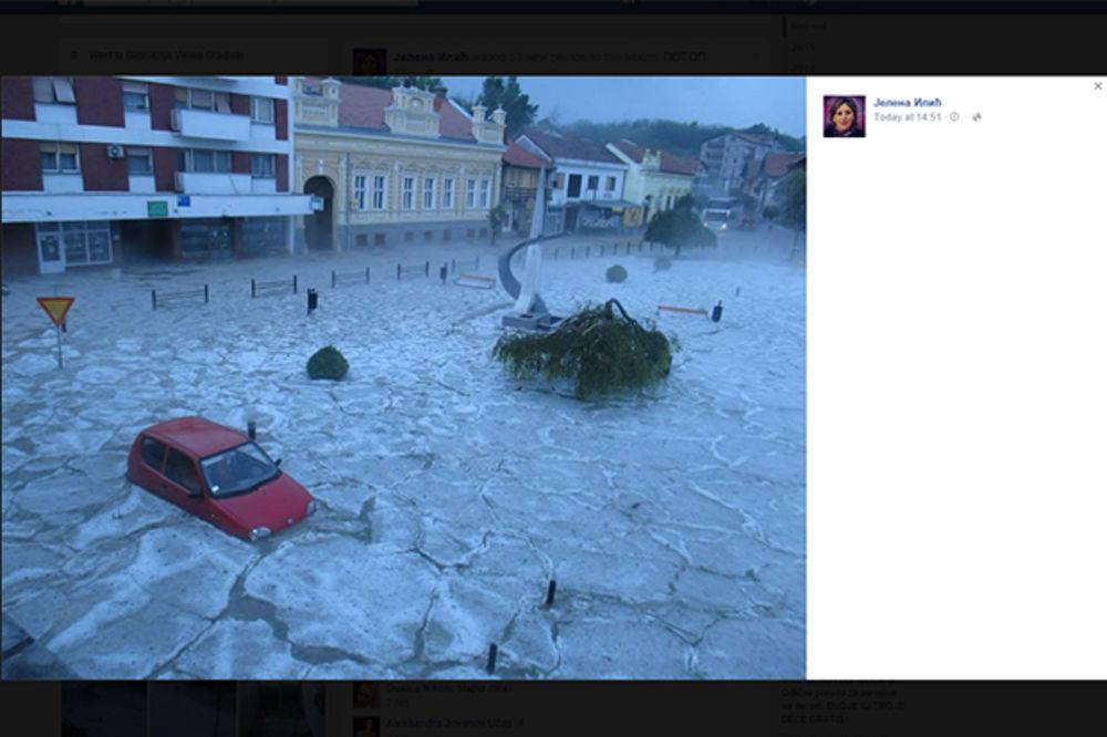 (KURIR TV) SNAŽNO NEVREME U GOLUPCU: Nezapamćen grad poplavio ulice, vetar obarao zamrzivače!