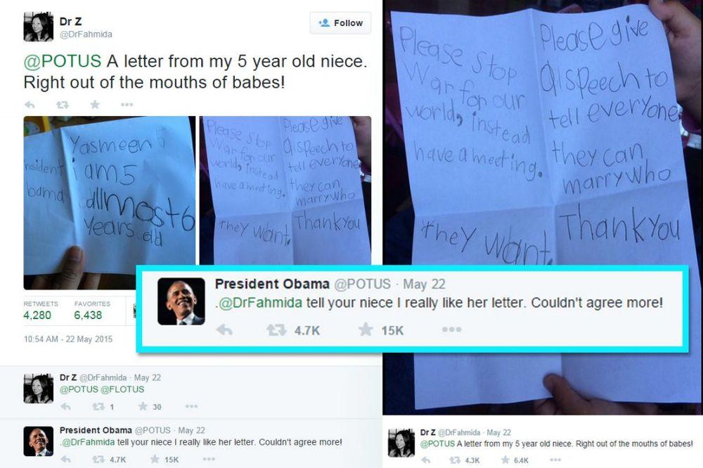 Obama na Tviteru odgovorio devojčici od 5 godina na fenomenalno pismo o miru u svetu