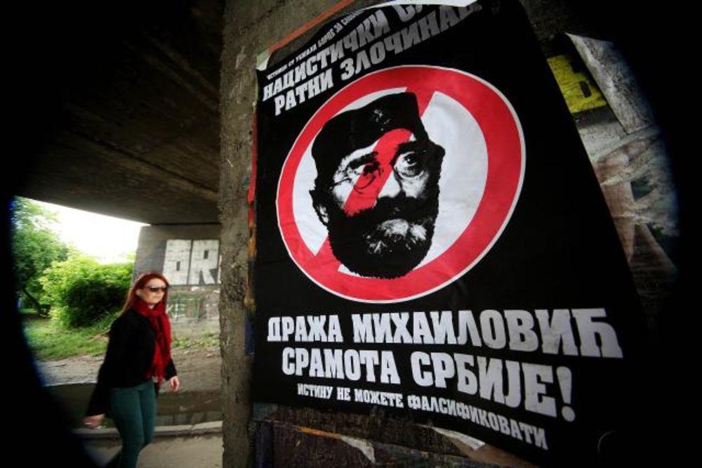 NS JE OVAKO OSVANUO: Grad oblepljen plakatima Draža Mihailović sramota Srbije