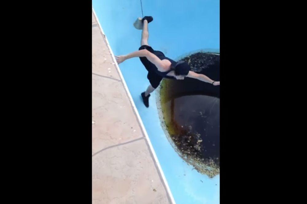 (VIDEO) KAD IZIGRAVAŠ MANGUPA: Hteo je da se pohvali, pa je upao u bazen odvratne, ustajale vode!
