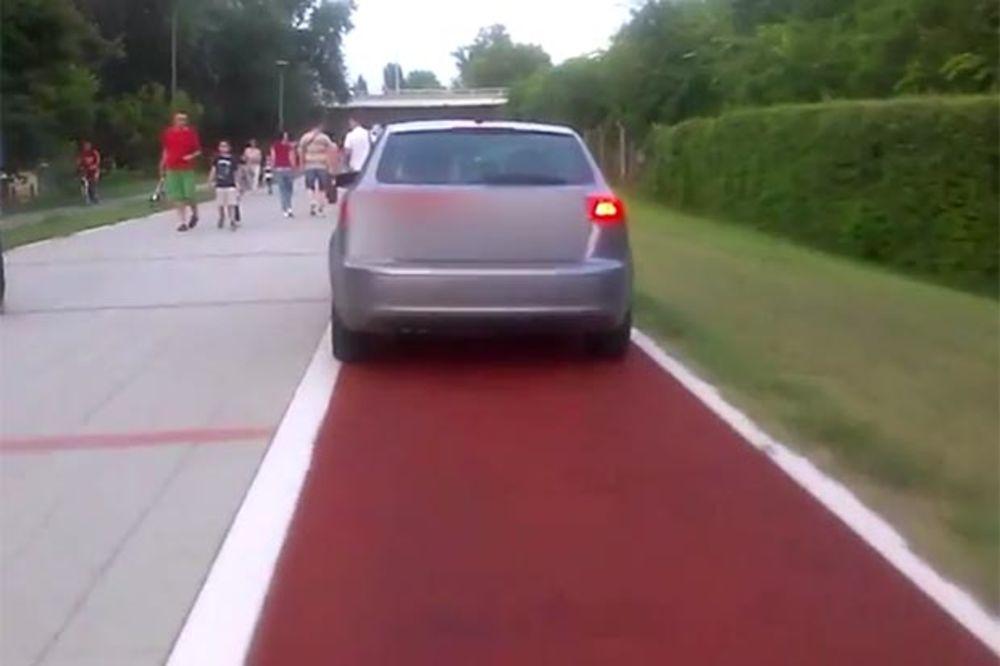 (VIDEO) BAHATO: Vozio kola po stazi za trčanje na novosadskom keju!