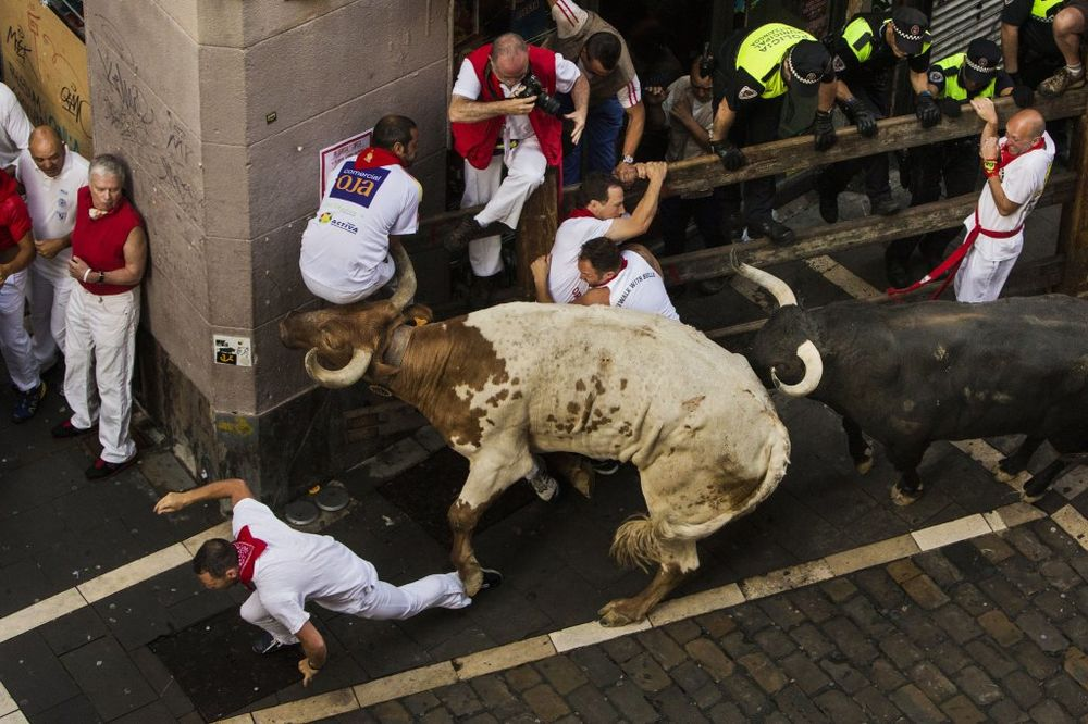(VIDEO I FOTO) ISPIT MUŠKOSTI ILI LUDOSTI: 3 izbodena već prvog dana trke s bikovima u Pamploni