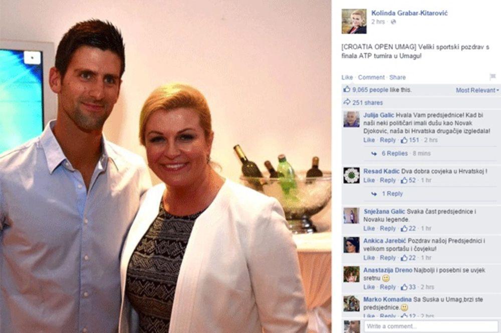 NOLE BANUO NA FINALE UMAGA: Hrvatska predsednica se slikala sa Đokovićem, pa se pohvalila na FB
