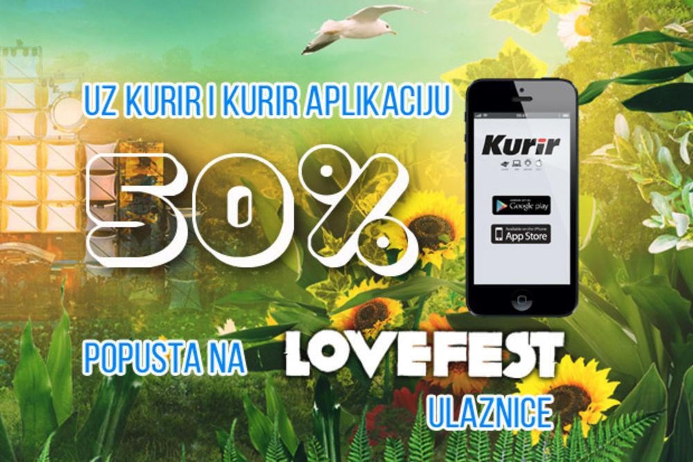 Uz Kurir aplikaciju 50 odsto popusta na Lovefest ulaznice
