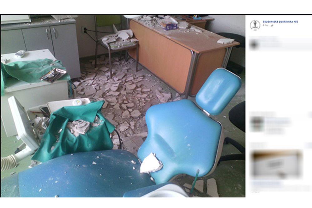 (FOTO) NIŠ: Pao deo plafona na Zubnom u studentskoj poliklinici