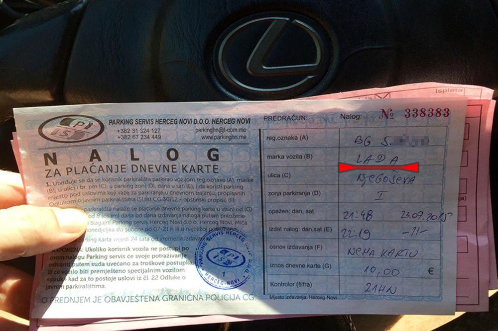 STRMA DŽADA PIČI LEKSUS: Beograđanin se oduševio zbog kazne u Herceg Novom, evo zašto!