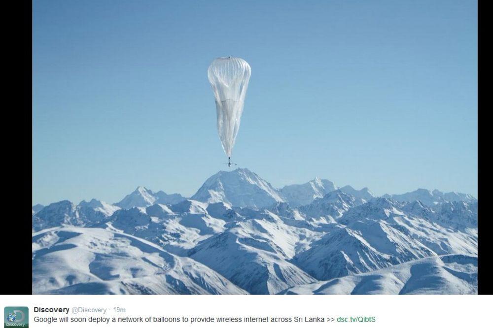 INTERNET SVUDA OKO NAS: Gugl lansirao veb preko balona na Šri Lanci