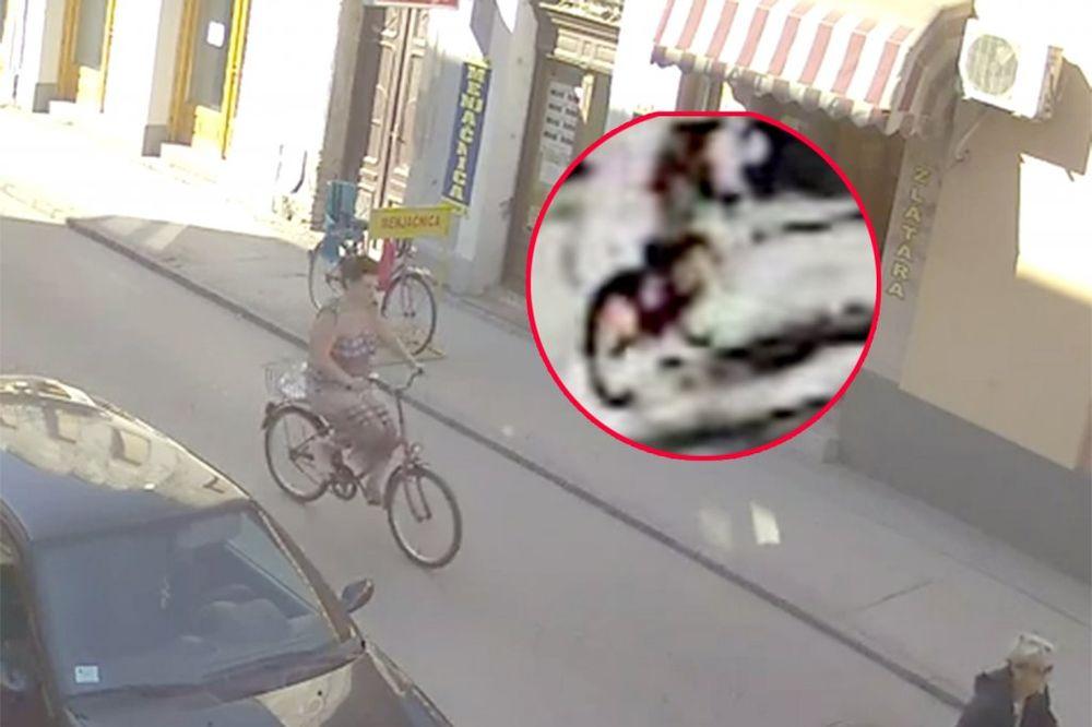 VIDEO UŽASA TRAŽI SE ŽENA NA CRVENOM BICIKLU: Pregazila dete u Somboru i otišla!