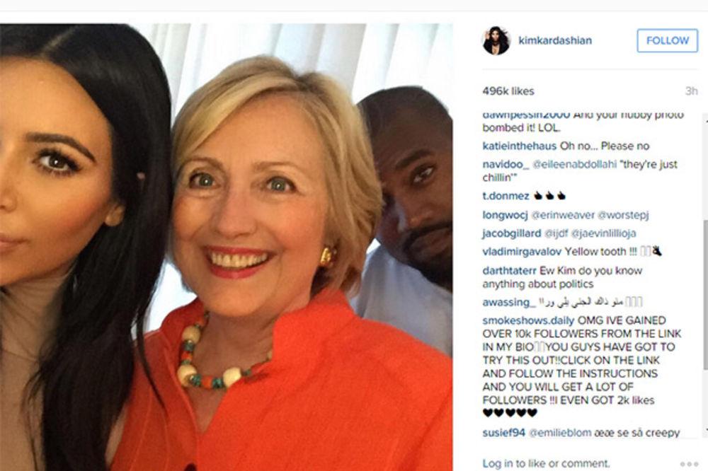 BIVŠA PRVA DAMA U SENDVIČU: Hilari opalila selfi s Kim Kardašijan i Kanjeom