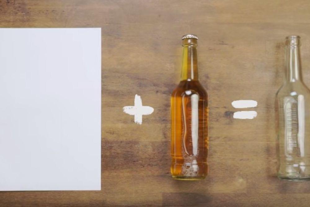 GENIJALNO: Otvorite flašu pomoću lista papira!