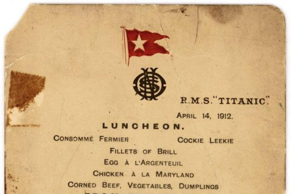 BOGATAŠ GA KRIO U DŽEPU: Jelovnik sa Titanika našao se na aukciji, cena i do 70.000 dolara