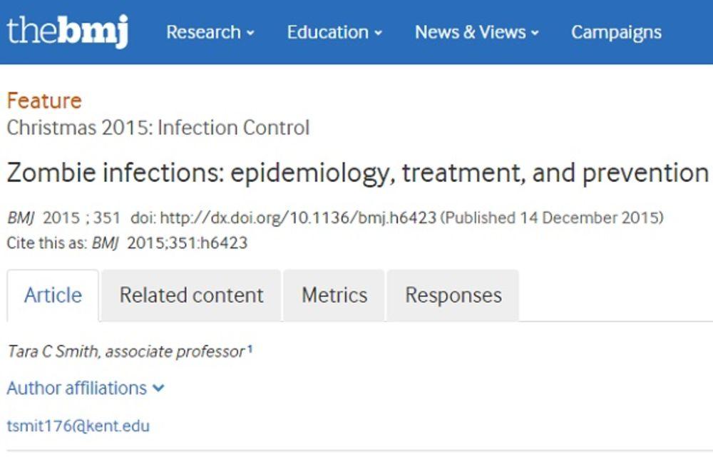 Crno na belo: Članak na portalu Britanskog medicinskog žurnala (Foto: Printscreen British Medical Journal)