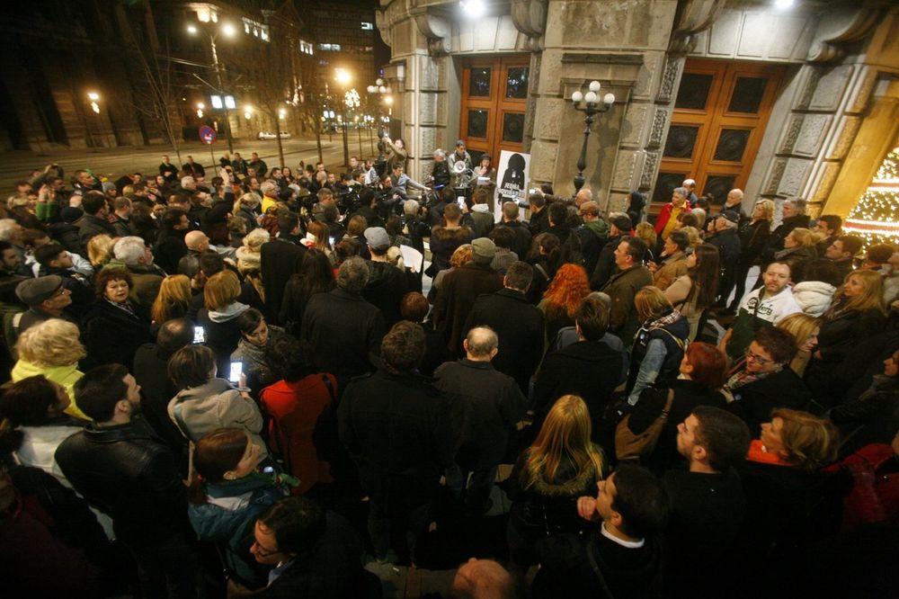 Prethodni protest ispred zgrade Vlade Srbije, Foto: Aleksandar Jovanović