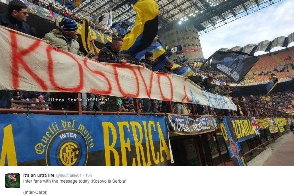 (FOTO) NAVIJAČI INTERA RAZVILI TRANSPARENT: Kosovo je Srbija!