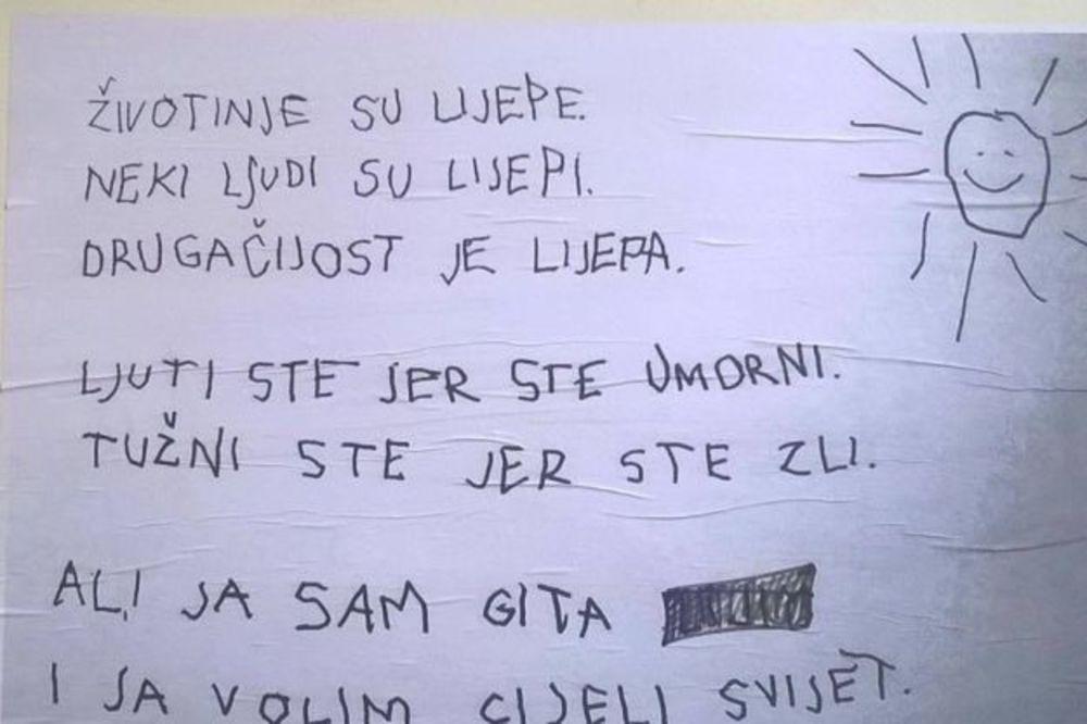 (FOTO) HRVATI ODLEPILI ZA OVOM PESMICOM: Devojčica u nekoliko stihova očitala lekciju odraslima!