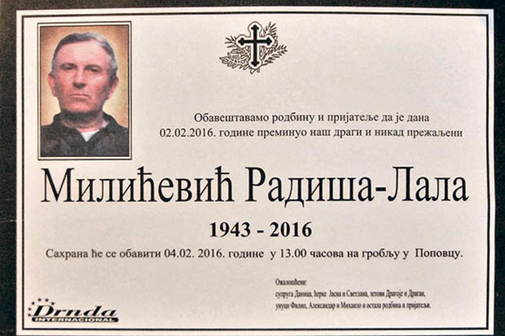 Policija traga za ubicom... Radiša Milićević