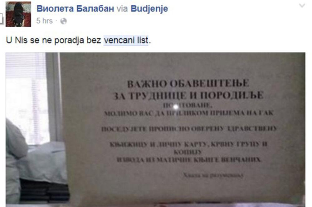 NATPIS ZBUNIO NEUDATE NIŠKE TRUDNICE: Bez venčanog lista nema porođaja?!
