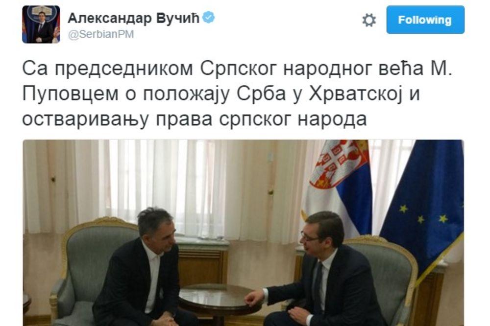 SUSRET SA PREDSEDNIKOM SRPSKOG NARODNOG VEĆA: Vučić danas sa Miloradom Pupovcem