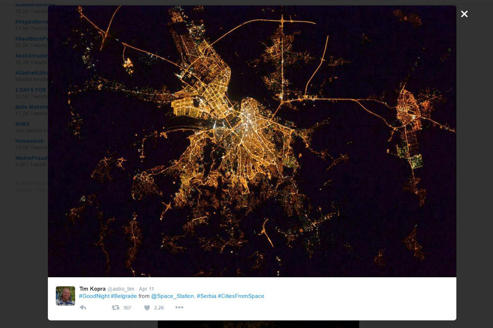 OVAKO IZGLEDA BEOGRAD IZ SVEMIRA Astronaut NASA objavio veličanstven noćni snimak glavnog grada!