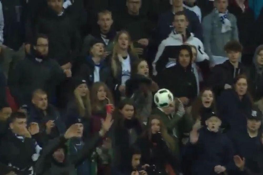 (VIDEO) KLASIČAN NOKAUT: Pogledajte kako je fudbaler u Danskoj pogodio navijačicu u glavu