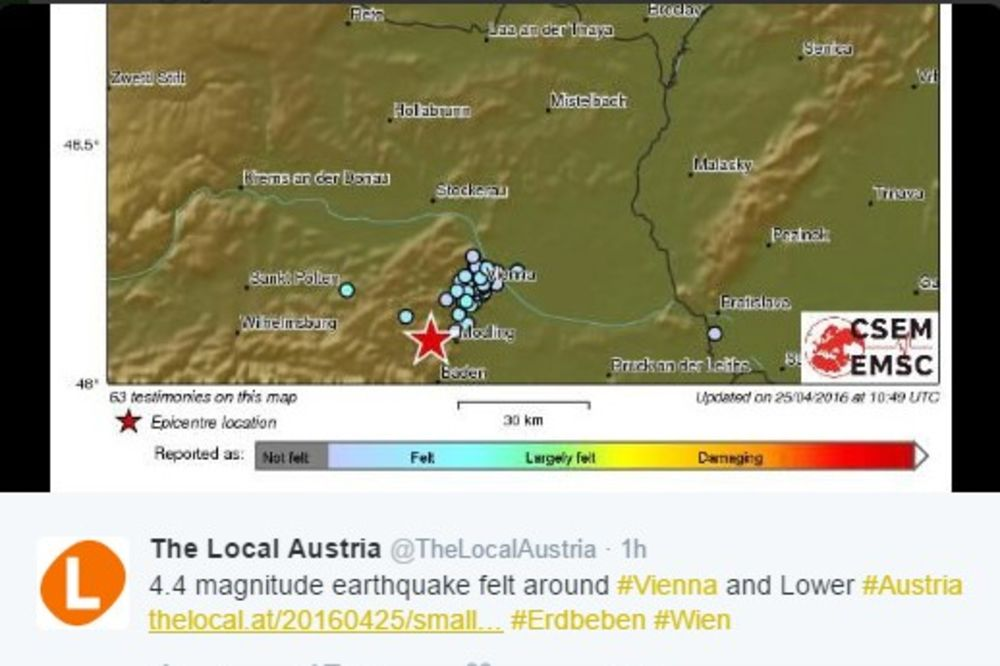 TRESLA SE AUSTRIJA: Zemljotres jačine 4,1 Rihtera pogodio Beč