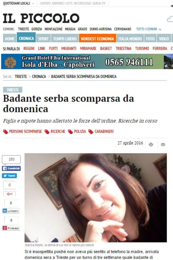 O nestanku izvestili i italijanski mediji (Foto: Il Piccolo printscreen)