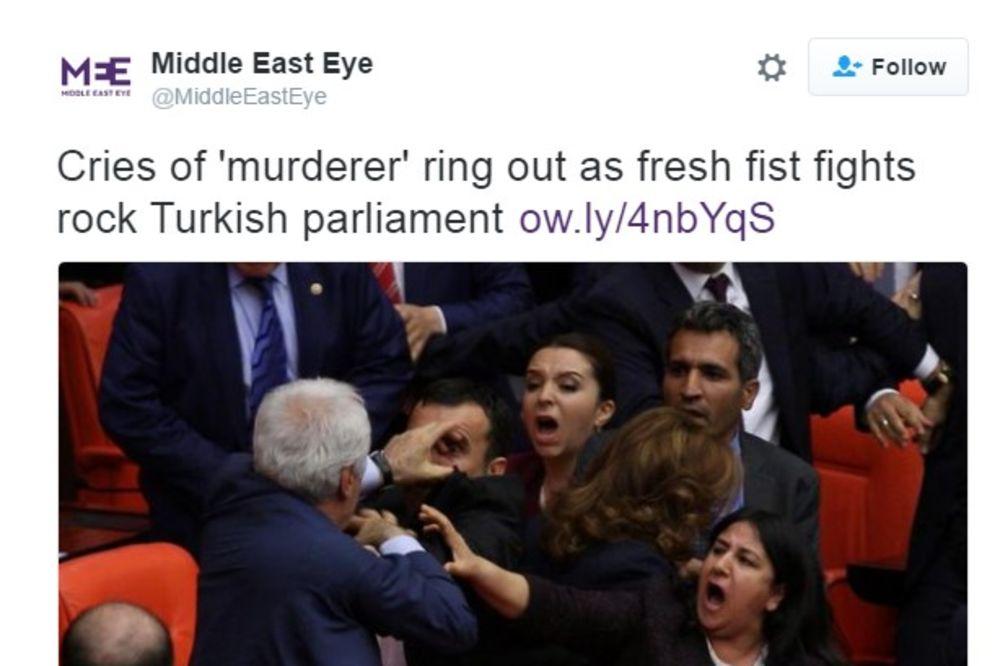 (VIDEO) NOVA TUČA U TURSKOM PARLAMENTU: Poslanici se obračunavali pesnicama