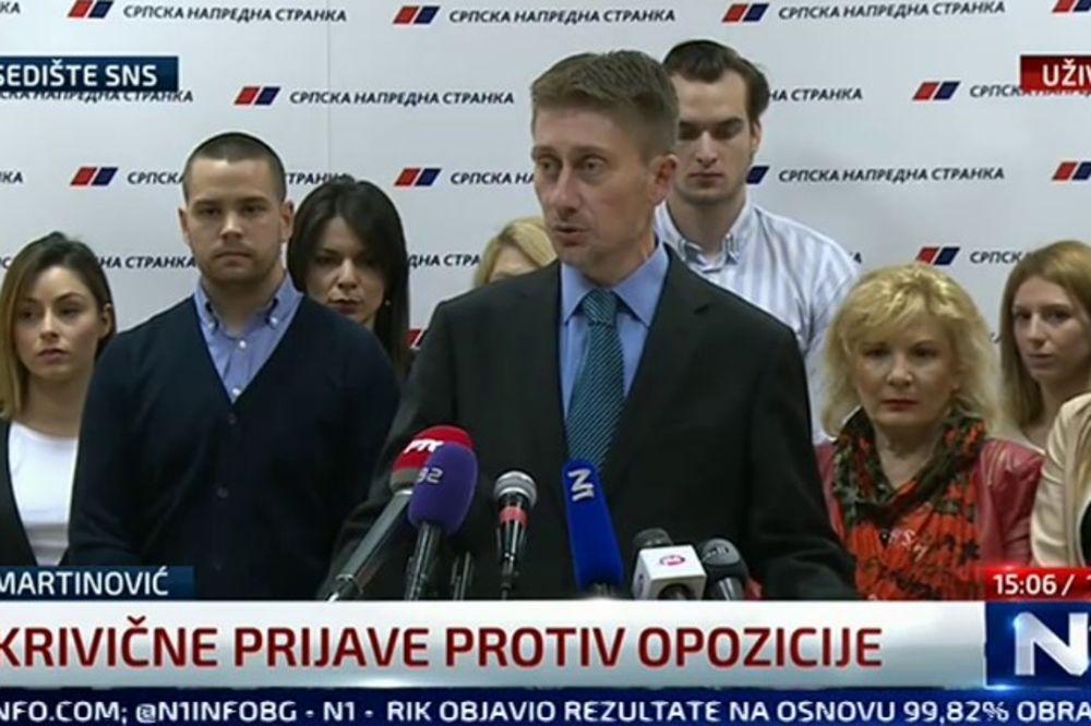 MARTINOVIĆ SNS: Podnećemo krivične prijave protiv lidera opozicije