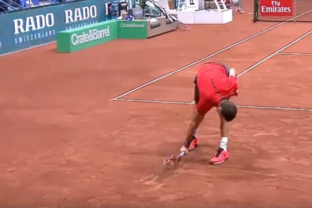 (VIDEO) OVO SE ZOVE TOTALNO LUDILO: Bugarski teniser Dimitrov polomio tri reketa tokom finala