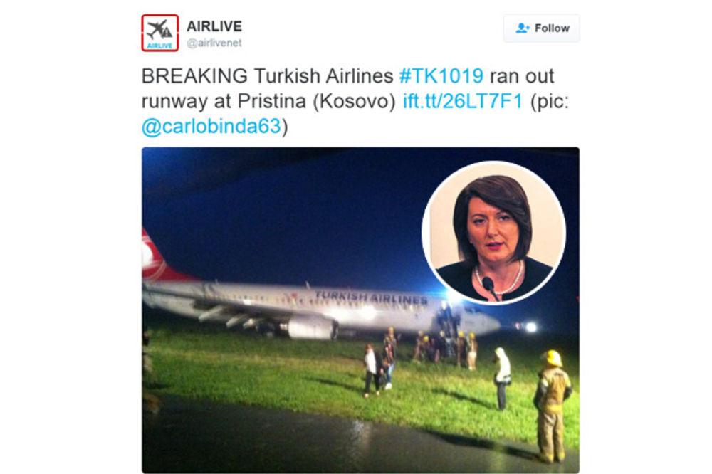 UZBUNA U PRIŠTINI: Turski avion promašio pistu, Jahjaga ipak nije bila u njemu
