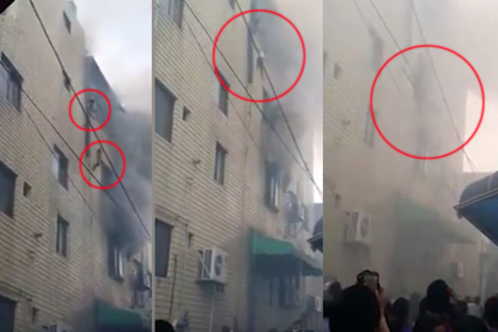 (VIDEO) SAMO TAKO SU MOGLI DA PREŽIVE Majka bacila troje dece iz zgrade u plamenu, pa i sama skočila