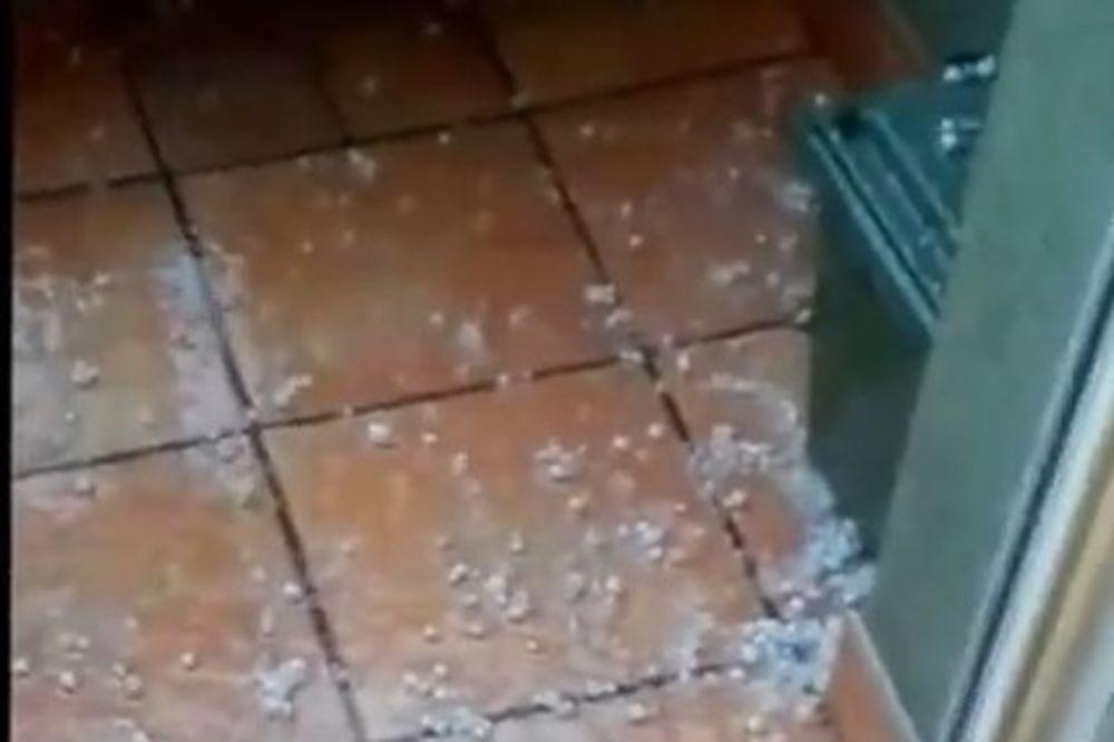 (VIDEO) OKOVAN LEDENIM POKRIVAČEM: Olujno nevreme sa gradom pogodilo Smederevo