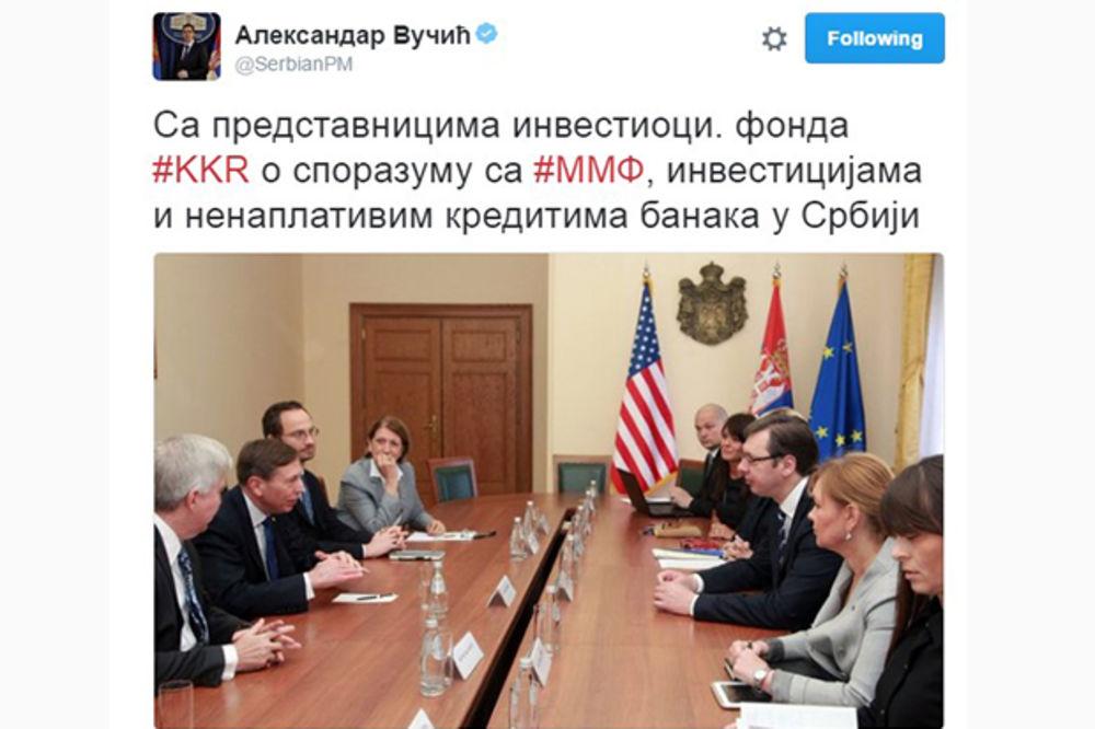 VLADA SRBIJE: Vučić razgovarao sa Dejvidom Petreusom o ekonomiji i sporazumu sa MMF