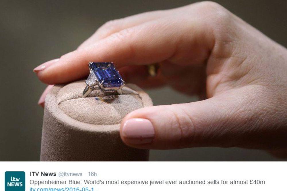 (VIDEO) NOVI SVETSKI REKORD: Dijamant Openhajmer blu prodat za 51,3 miliona dolara