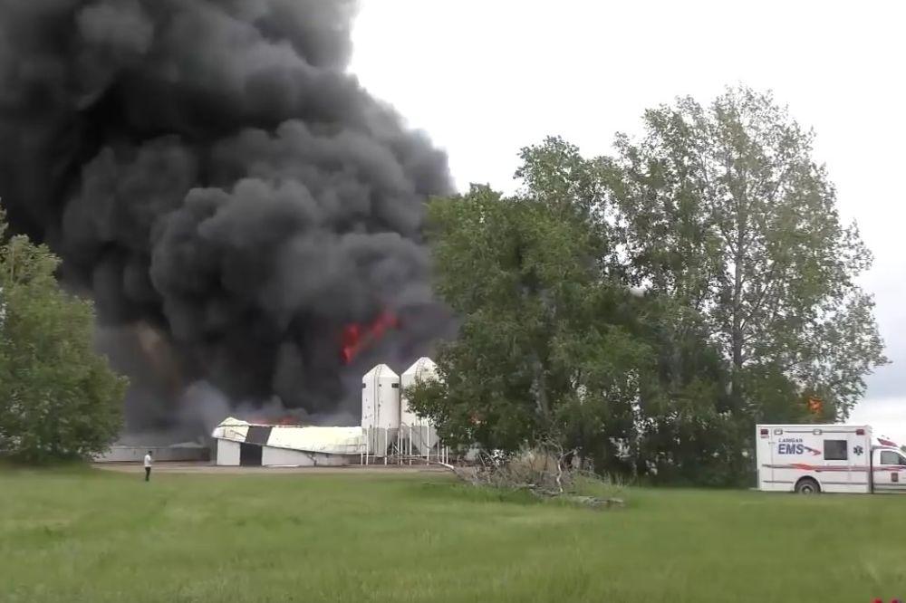 (VIDEO) VELIKI POŽAR U KANADI: Vatra progutala ambare i 5.000 svinja